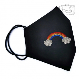 BLACK COTTON PROTECTIVE MASK WITH RAINBOW